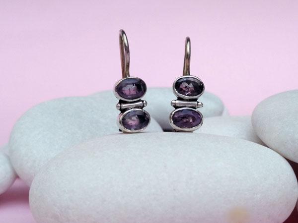 Ehnic Sterling silver earrings and Amethyst.. Foto 2