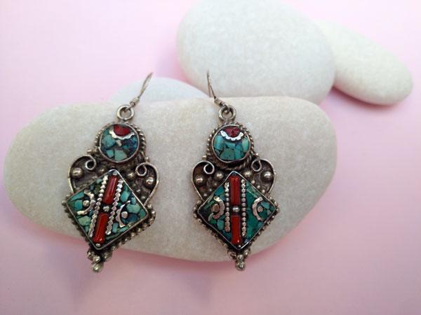 Tibetan handmade ethnic earrings.. Foto 2