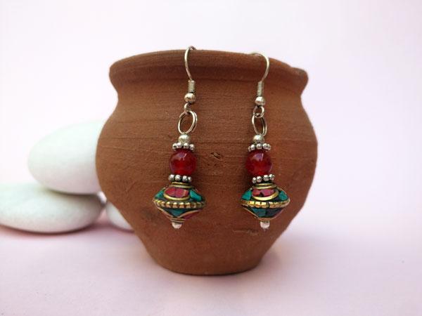 Tibetan handmade ethnic earrings.. Foto 1