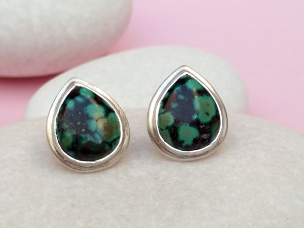Ethnic earrings made of Sterling silver and Turquoises.. Foto 1