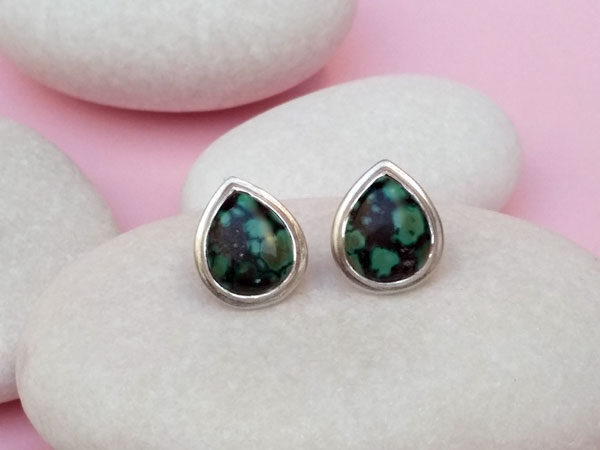 Ethnic earrings made of Sterling silver and Turquoises.. Foto 2