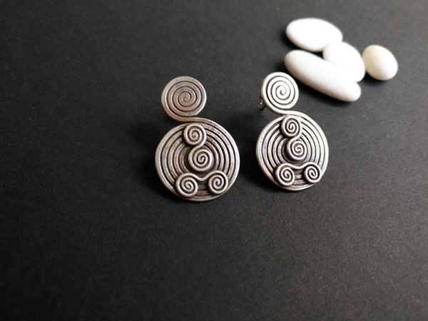 "Ethnic ""Karen"" Sterling silver earrings.. Ref. NFQ"