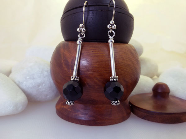 Black Amber and Sterling silver earings.. Foto 1