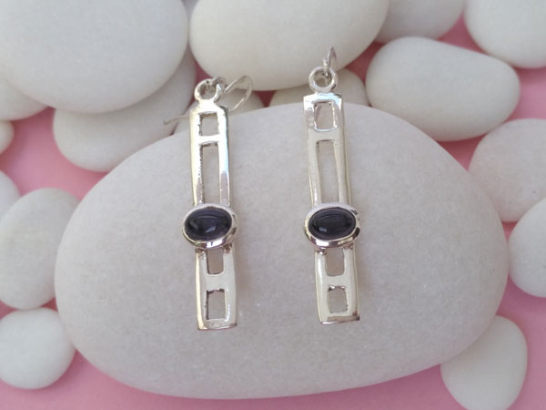 Sterling silver and Amethyst earrings.. Foto 2