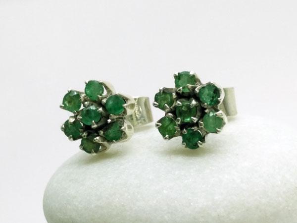 Pendientes etnicos de plata y gemas de Esmeraldas.. Ref. NGL