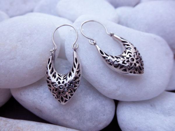 Ethnic Sterling silver earrings. Foto 1