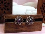 Ethnic Sterling silver and amethyst earrings.. Ref. NHB