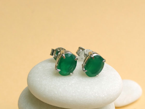 Silver and green jade earrings.. Foto 2
