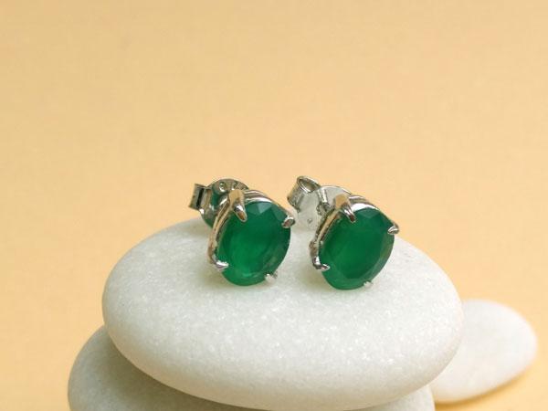 Pendientes de plata y jade verde.. Foto 2