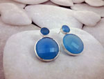 Handmade Sterling silver and Blue Chalcedony earrings.. Ref. TBU