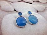 Pendientes artesanales de plata y Agata Calcedonia azul.. Ref. TBU