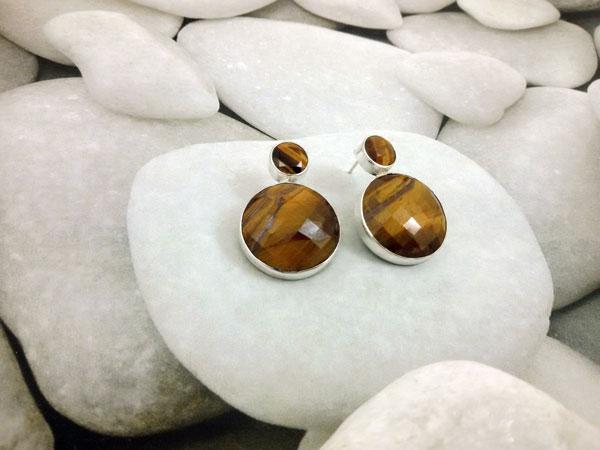 Pendientes artesanales de plata y Ojo de tigre.. Foto 2