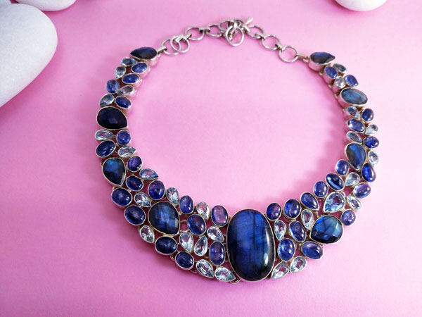 Sterling silver Necklace with Gems of Labradorite, Blue Topaz and Aquamarines.. Foto 3