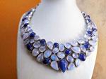 Collar de plata con gemas de Tanzanita y Piedra de luna.. Ref. TCH
