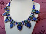 Ethnic tibetan necklace with Turquoises, Coral and Lapis lazuli.. Ref. TCL