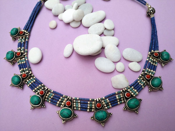 Ethnic Sterling silver Tibetan necklace.. Foto 1