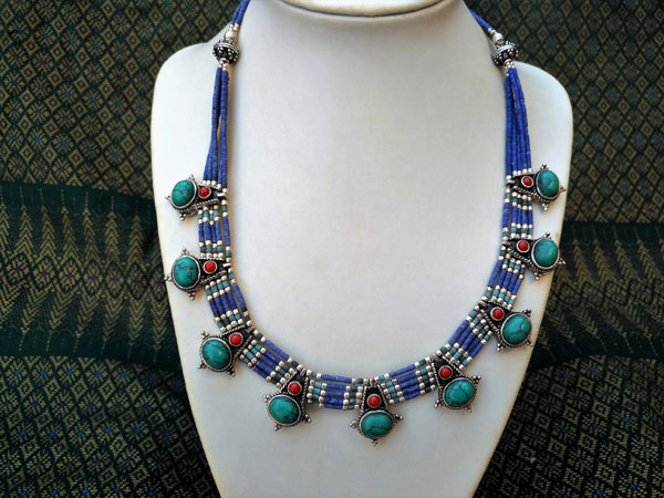 Ethnic Sterling silver Tibetan necklace.. Foto 2