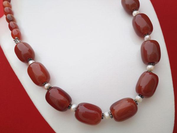 Collar de plata, agata cornalina y perlas cultivadas.. Foto 2