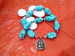 Ethnic tibetan necklace with Turquoises and Sterling silver.. Ref. TCX