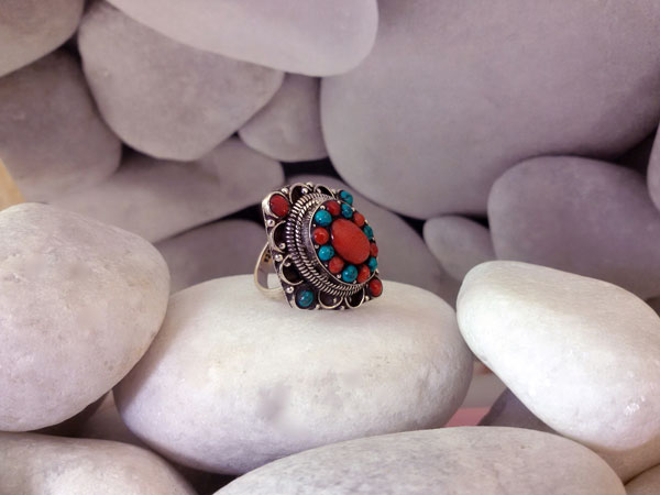 Sterling silver, Coral and Turquoises ring.. Foto 2