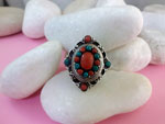 Sterling silver, Coral and Turquoises ring.. Ref. TDB