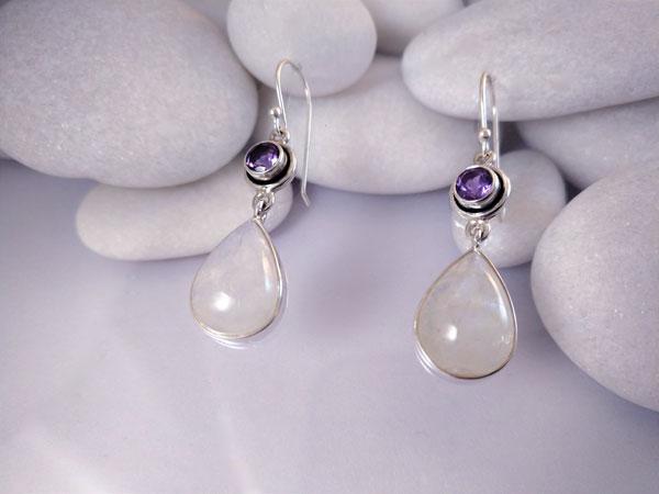 Moonstone and Amethyst Sterling silver earrings.. Foto 2