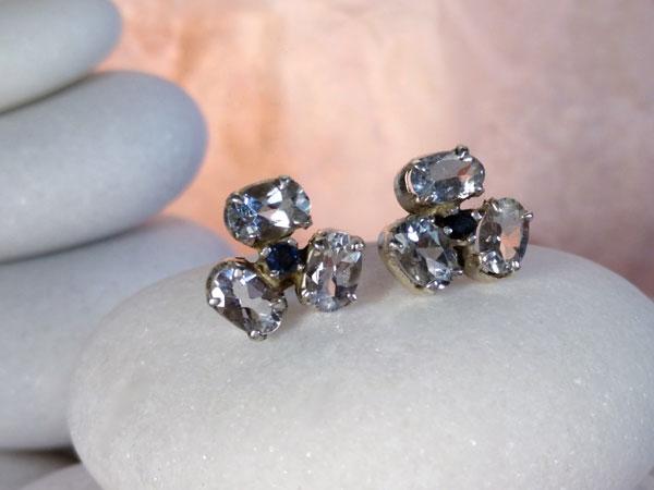 Pendientes artesanales de plata y gemas facetadas de Aguamarina y Zafiros.. Ref. TEQ