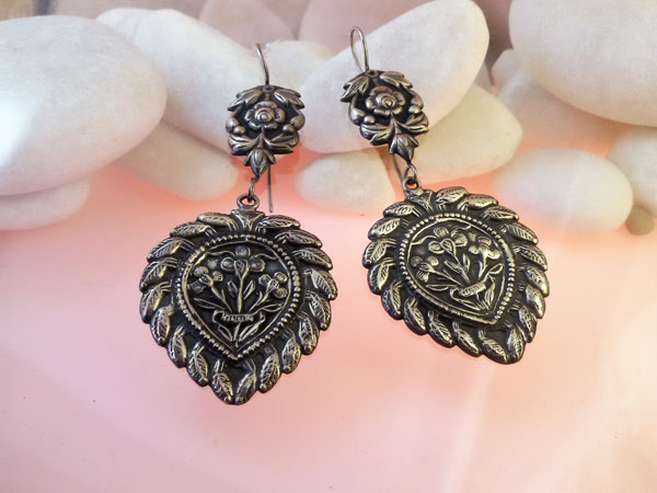 Traditional Sterling silver ethnic earrings.. Foto 1
