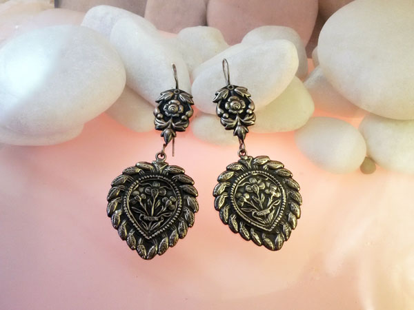 Traditional Sterling silver ethnic earrings.. Foto 2