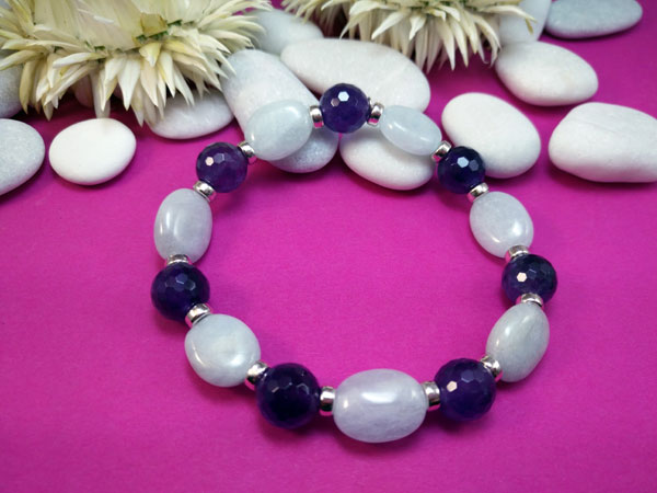 Milky Aquamarine and Amethyst Stering silver bracelet.. Foto 1