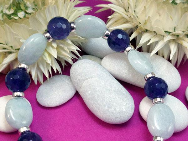 Pulsera de plata con gemas de Aguamarina y Amatistas.. Foto 2