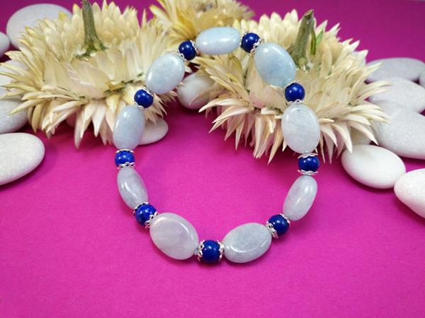 Milky aquamarine and Lapis lazuli silver bracelet.. Foto 1