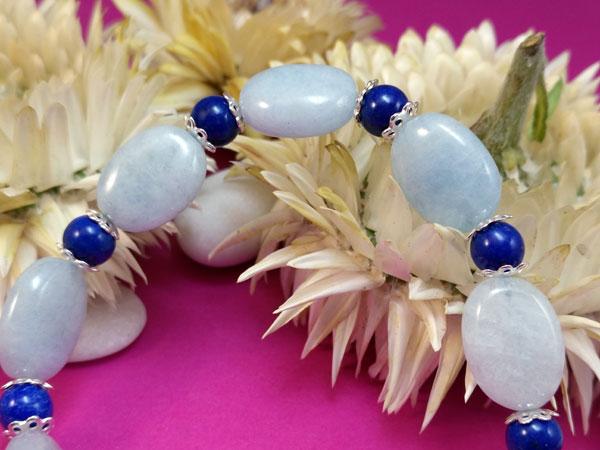 Milky aquamarine and Lapis lazuli silver bracelet.. Foto 2