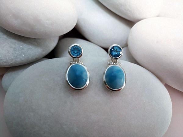 Larimar and Blue Topace Sterling silver earrings.. Foto 1