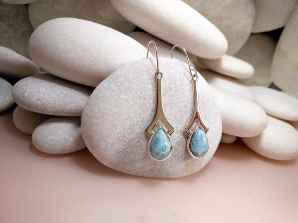 Pendientes de plata y gemas de Larimar.. Ref. TGJ