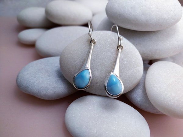 Larimar and Sterling silver earrings.. Foto 1