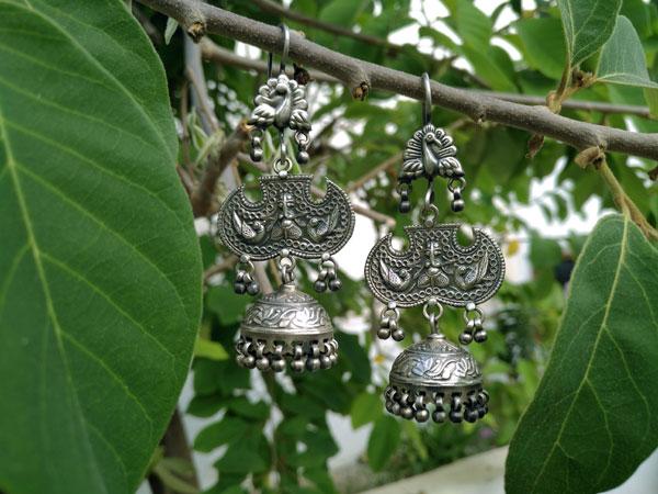 Pendientes artesanales etnicos de plata.. Foto 1