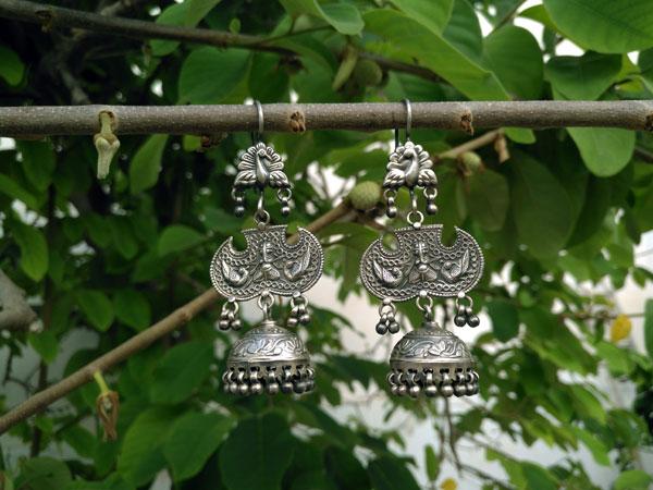 Pendientes artesanales etnicos de plata.. Foto 2