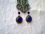 Pendientes artesanales de aleacion de plata y Lapis lazuli.. Ref. TGO