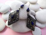 Pendientes artesanales antiguos de aleacion de plata y Lapis lazuli.. Ref. THA