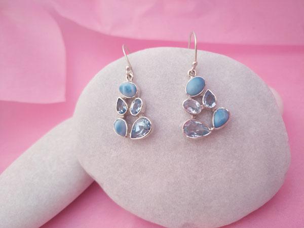 Pendiente artesanales de plata, Larimar y Aguamarina.. Foto 1