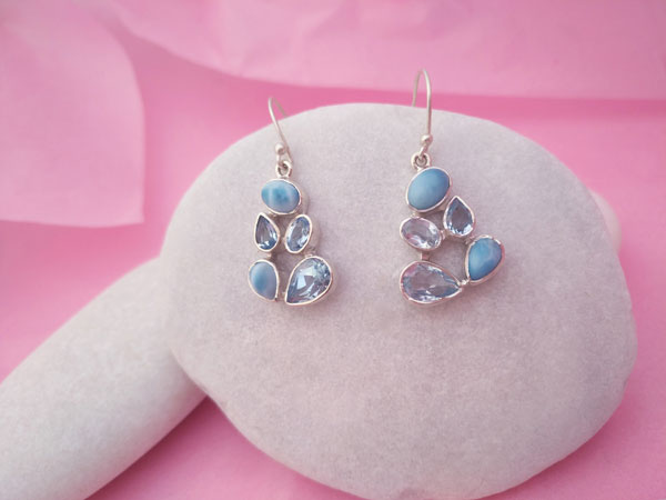 Larimar and Aquamarine Sterling silver earrings.. Foto 1