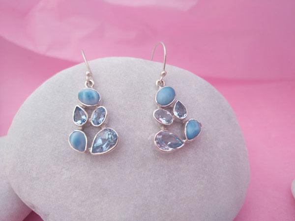 Larimar and Aquamarine Sterling silver earrings.. Foto 2