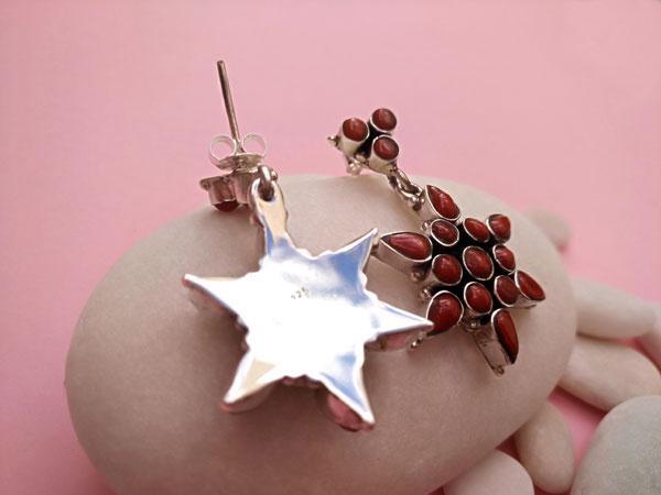 Pendientes artesanales de plata y Coral.. Foto 2