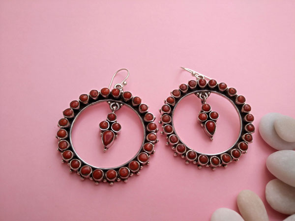 Coral and Sterling silver earrings.. Foto 1
