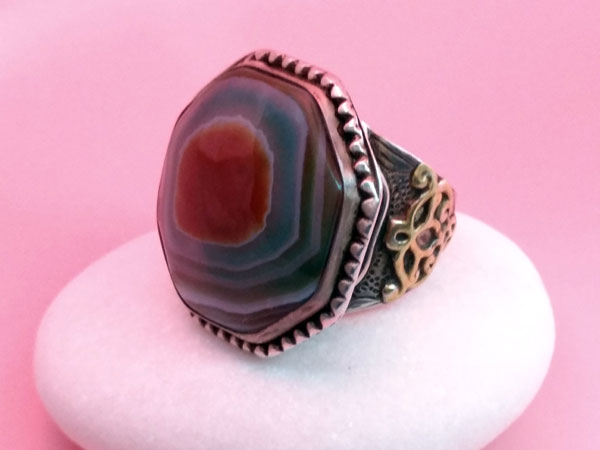 Old Sterling silver and agate ethnic ring.. Foto 2