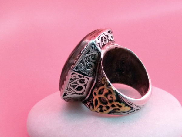 Old Sterling silver and agate ethnic ring.. Foto 3