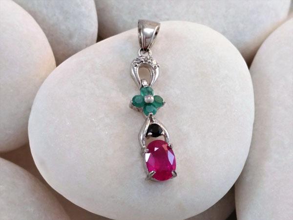 Colgante de plata y gemas de Rubi, Zafiro y Esmeraldas.. Ref. TLB
