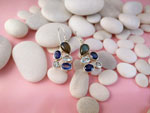 Sterling silver earrings and gems of Sapphires, Aquamarines and Labradorite.. Ref. TMG