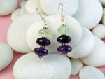 Ethnic Sterling silver earrings with Amethyst and Prehenite gemstones.. Ref. TMP